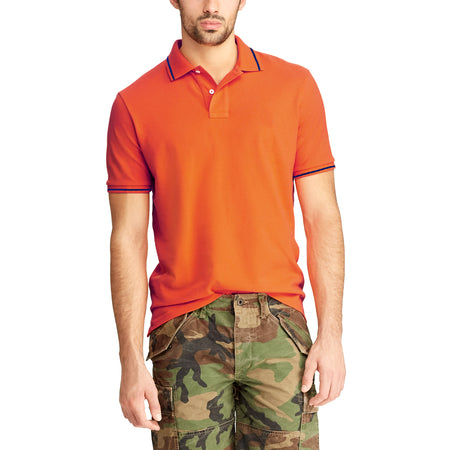 Orange  Pure Cotton Tipped Collar Regular Fit Polo Shirt (LO-773)