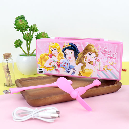 Trendy Snow White Led Cum Fan Rechargeable Pencil Box with USB (JB-20395)
