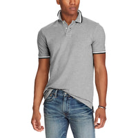 Grey Pure Cotton Tipped Collar Regular Fit Polo Shirt (LO-779)
