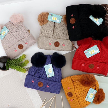 Kids Lovely Winter Warm Soft Knitted Wool Cap with Pom Pom