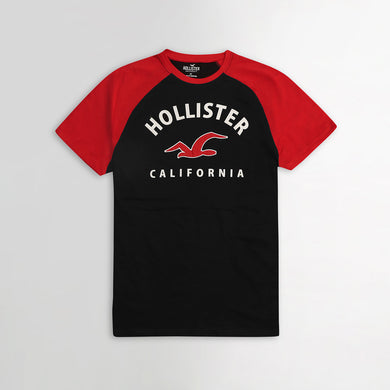 Contrast Raglan Sleeves Applique & Print Graphic Tee Shirt (HO-789)