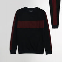 ZR Black Colour Block Fleece Crew Neck Sweatshirt (ZA-1723)