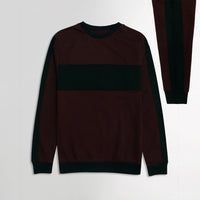 ZR Burgundy Colour Block Fleece Crew Neck Sweatshirt (ZA-1725)