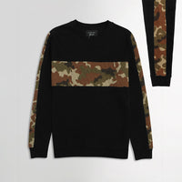 ZR Black Camo Colour Block Fleece  Crew Neck Sweatshirt (ZA-1726)