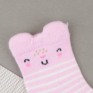 Babies Stripe & Kitty Face Pattern Super Soft Socks New born to 6 Months (BS-10475)
