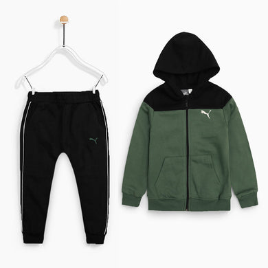 PMA Kids Green/ black  Color Block Jogging Suite  (PU-1834)
