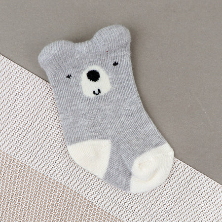 Babies Cute Bear Face Weaved Super Soft Socks New born to 6 Months (BS-10495)
