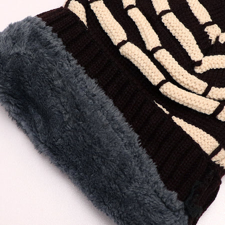 Paul Fur lined Striped beanie Cap (CP-1764)