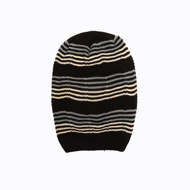 Vadim Fur lined Striped beanie Cap (CP-1762)