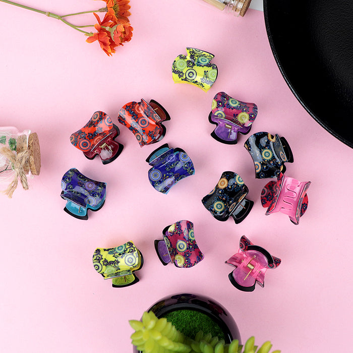 Pack of 12 Multi Color Printed Medium Hair Claw Clip Clamp Hair Catcher   (HC-20471)