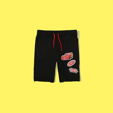 Kids T.A.L Black Macqueen Car Print Terry Shorts (TP-4733)