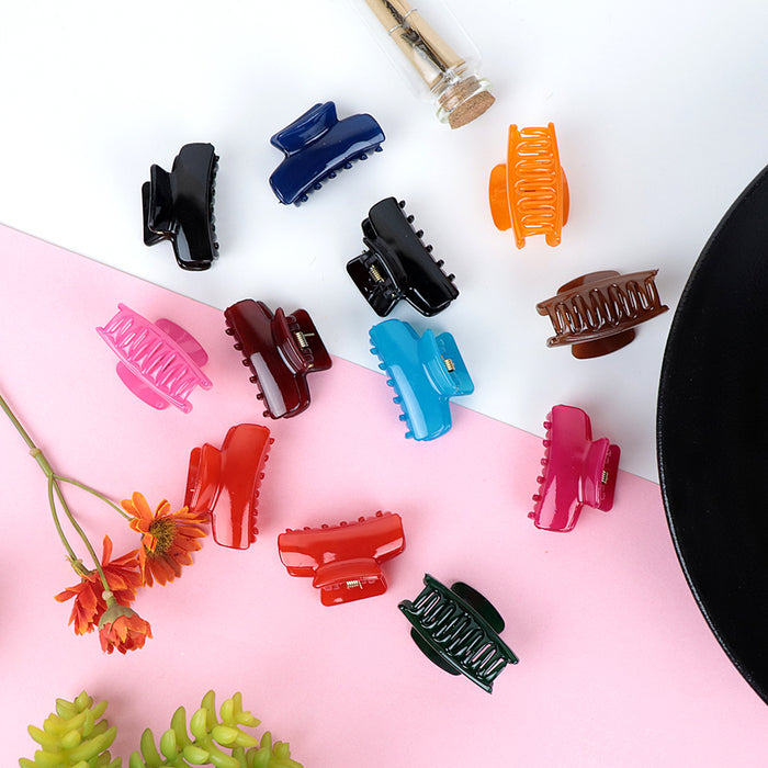 Pack of 12 Multi Color Medium Hair Claw Clip Clamp Hair Catcher  (HC-20466)