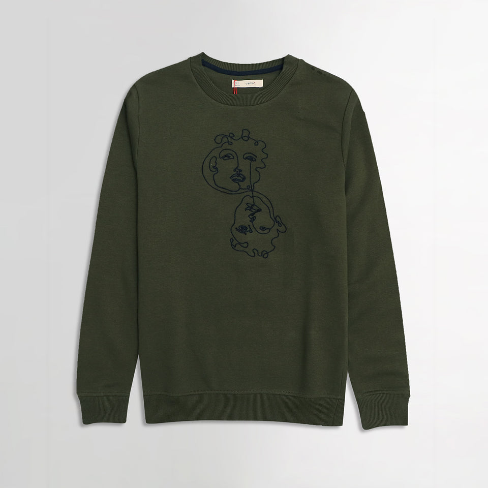 Clio Army Green Chest Art Motif Embroidery Sweatshirt  (CE-1833)