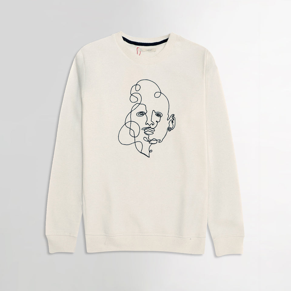 Clio Ivory Chest Art Motif Embroidery Sweatshirt   (CE-1832)