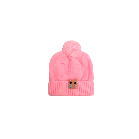 Kids hippo Pink Sueded Wool Beanie Cap (KC-1794)