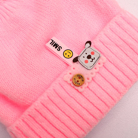 Kids Smile Pink Sueded Wool Beanie Cap (KC-1796)