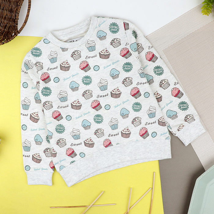 Kids All Over Cup Cake Printed Stylish Sweatshirt (TX-10531)
