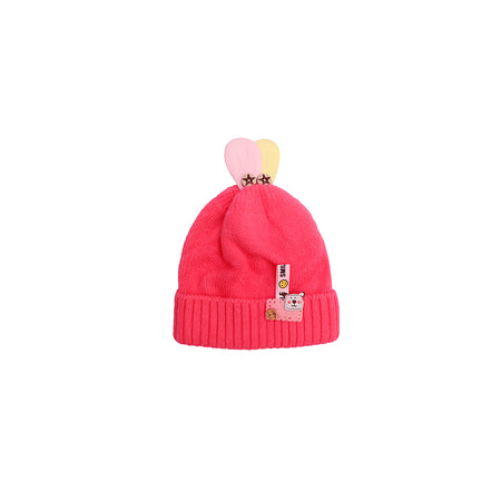 Kids Smile Shocking pink  Sueded Wool Beanie Cap  (KC-1798)