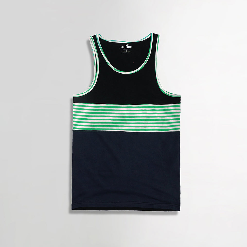 Block Striped Slim Fit Ringer Casual Vest  (HO-867)