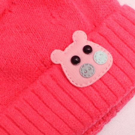 Kids hippo Shocking Pink Sueded Wool Beanie Cap  (KC-1793)