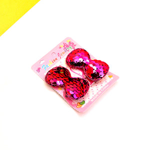 Pack of 2 Girls Sequin Small Bow Hair Clip