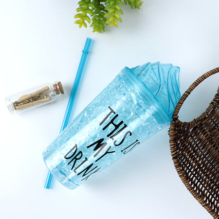 450ML CREATIVE SUMMER DOUBLE PLASTIC BLUE DURABLE WATER CUP WITH COVER STRAW(BT-20262)