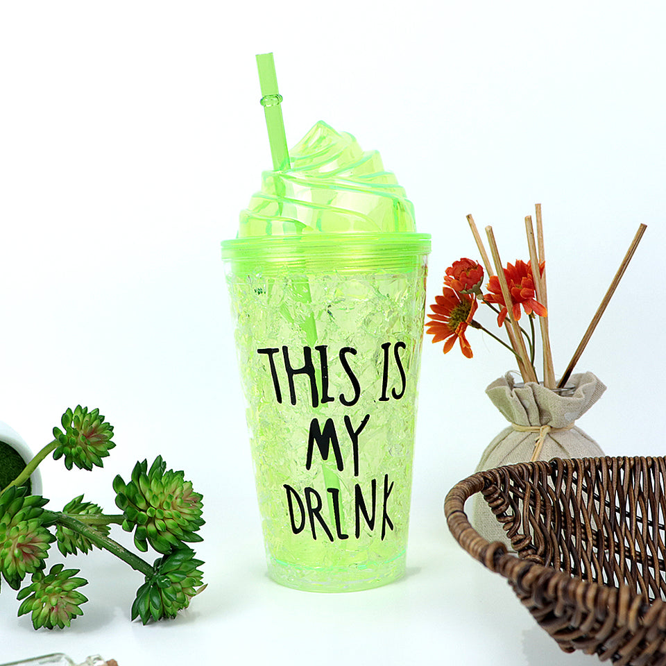 450ML CREATIVE SUMMER DOUBLE PLASTIC GREEN DURABLE WATER CUP WITH COVER STRAW  (BT-20260)