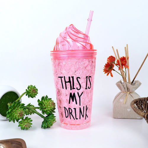450ML CREATIVE SUMMER DOUBLE PLASTIC PINK DURABLE WATER CUP WITH COVER STRAW(BT-20263)