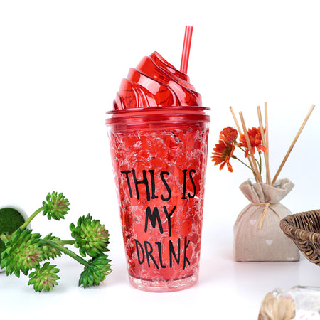 450ML CREATIVE SUMMER DOUBLE PLASTIC RED DURABLE WATER CUP WITH COVER STRAW (BT-20261)