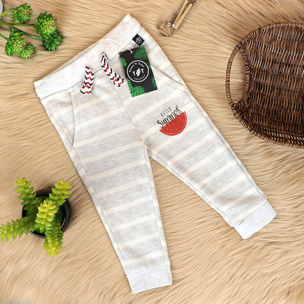 Babies Self Striped Terry Graphic open Bottom Joggers  (TT-10090)
