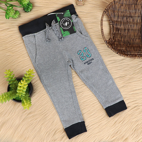 Babies 2 Tone Double Knit Terry Graphic Close Bottom Joggers (TT-10096)