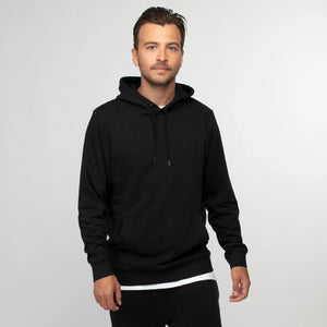 Men Basic Black Pullover Fleece Hoodie (RU-10552)
