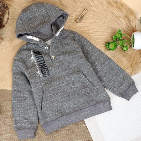 "Kids ""Skating"" Snap Button Placket Hoodie (OR-10059)"