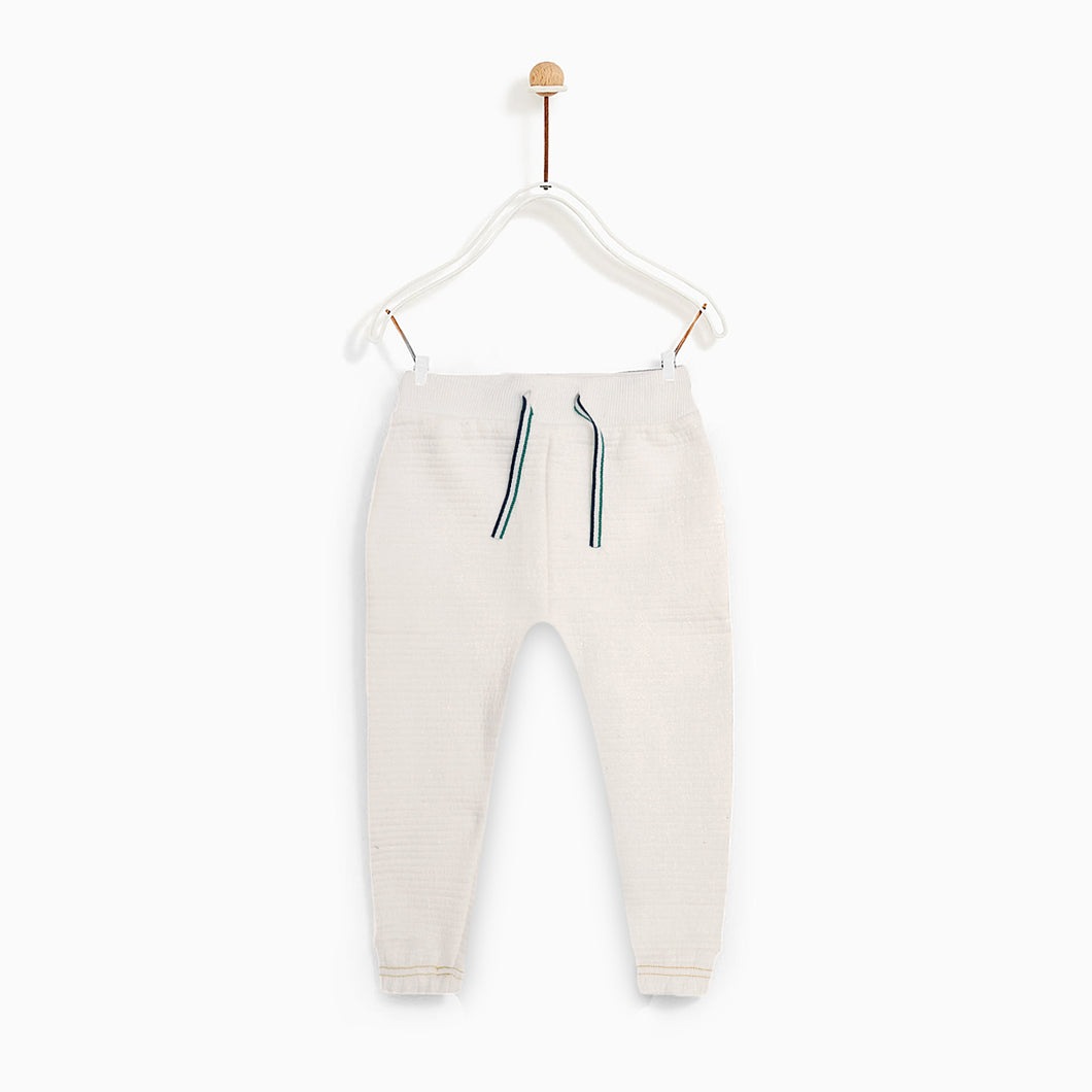 OR Kids white Contrast Stitch Quilted Joggers (OR-1841)