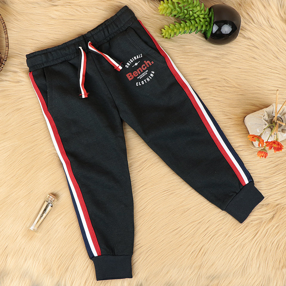 Kids Cotton Blend Side Striped Graphic Joggers (BE-10329)