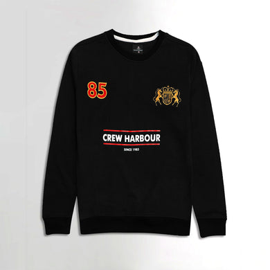 Crew Harbor Black Print and Applique Camero Sweatshirt (CR-1848)