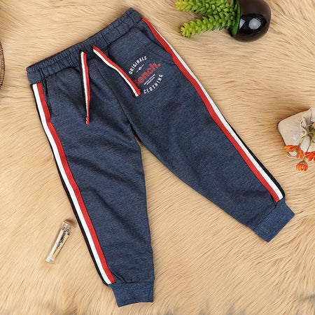 Kids Cotton Blend Side Striped Graphic Joggers (BE-10327)