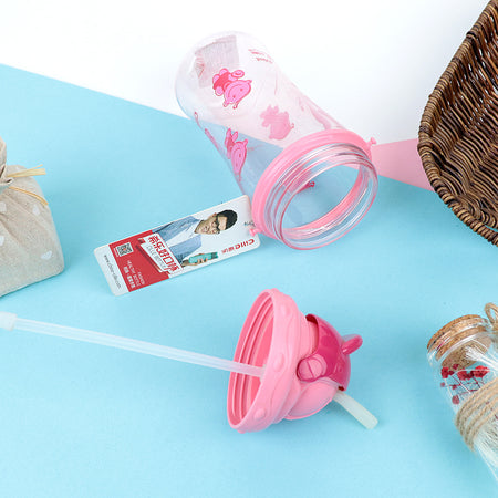 Kids Water Bottle with push open Lid & Straw  (BT-20455)