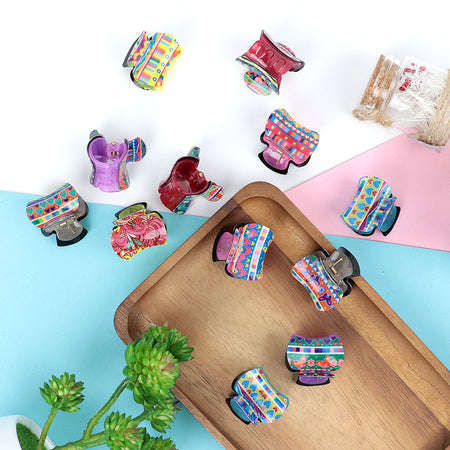 Pack of 12 Multi Color Printed Medium Hair Claw Clip Clamp Hair Catcher (HC-20468)