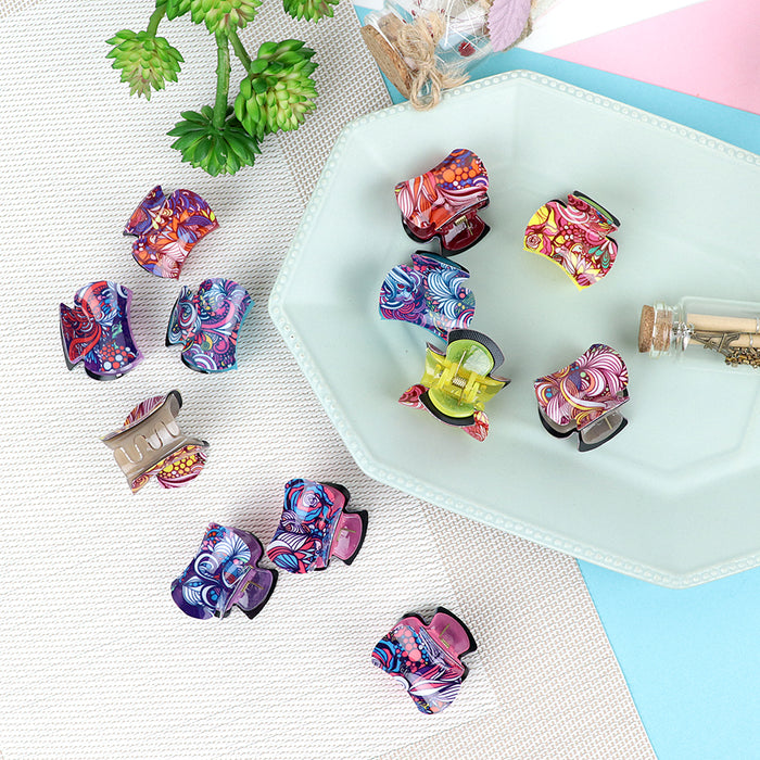 Pack of 12 Multi Color Printed Medium Hair Claw Clip Clamp Hair Catcher  (HC-20470)