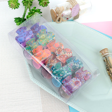 Pack of 12 Multi Color Printed Medium Hair Claw Clip Clamp Hair Catcher (HC-20472)