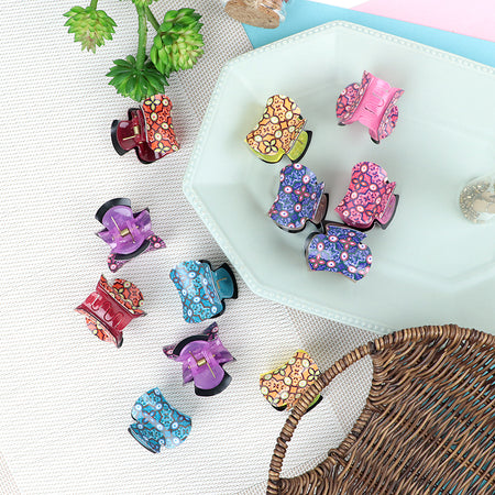 Pack of 12 Multi Color Printed Medium Hair Claw Clip Clamp Hair Catcher (HC-20465)