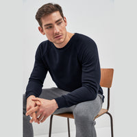 Men Crew Neck Navy Fleece Sweatshirt (RU-10562)