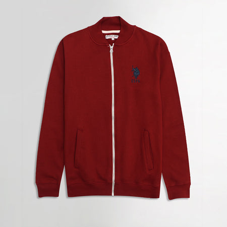 USPA Maroon Contrast Zipper Funnel Neck Fleece jacket (US-1867)