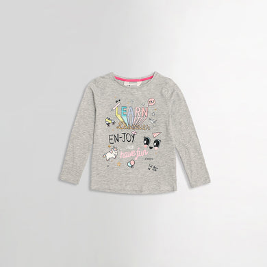 Girls Statement Melange Graphic Tee Shirt (HM-990)