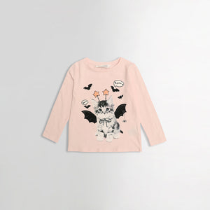 Girls Cotton Cat Print T-Shirt (HM-991)