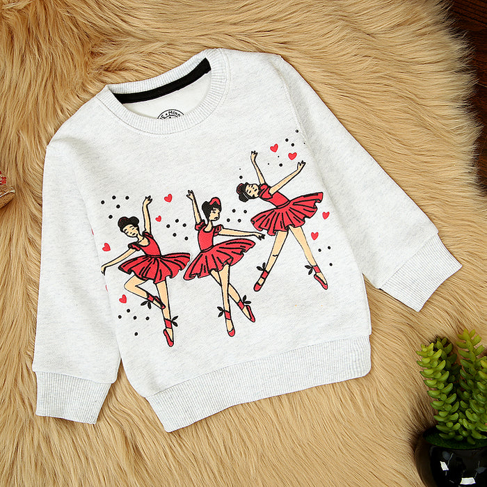 KIDS DANCING DOLL GRAPHIC PRINT FLEECE SWEATSHIRT (MM-11318)