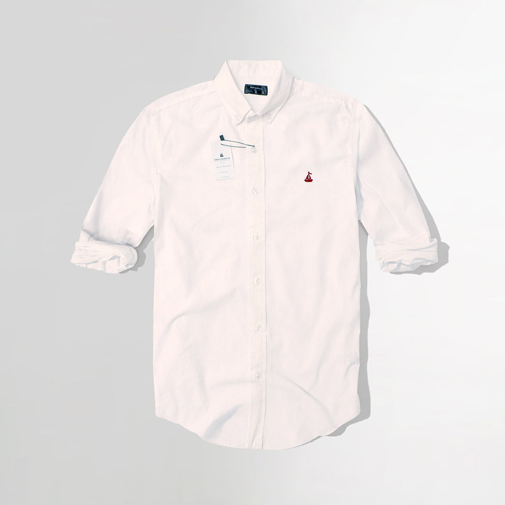 Men Crew Harbour White Oxford Chambray Signature Casual Shirt (CR-4778)
