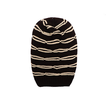 Carmen Fur lined Striped beanie Cap (CP-1816)