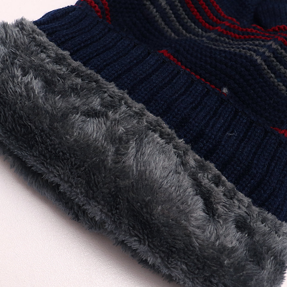 Hugin Fur lined Striped beanie Cap(CP-1822)